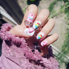 24pcs Cute Style Pink Fake Nails False Full Nails Tips with Ice Cream Nail Art Decoration DIY Manicure Tools for Christmas Gift