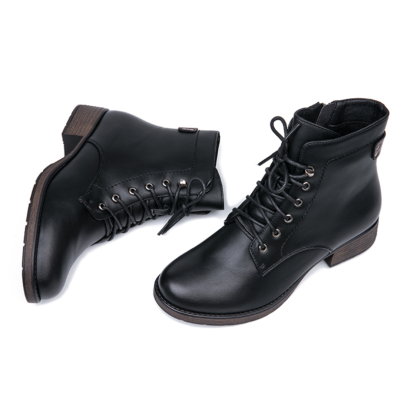 AIMEIGAO Round Toe Ankle Boots For Women Lace up Black Color Female Boots Warm Fur Plush Insole Classic Style Women Shoes