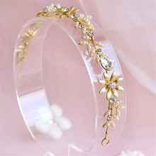 Gold Tiara Head Chain Pearl Jewelry Wedding Headband Baroque Hair Jewelry Bridal Hair Accessories Ornaments Cheveux WIGO0521