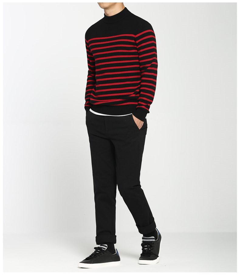 100% Wool sweater men turtleneck striped pure woolen mens sweaters male pullover autumn winter knitwear Brand Muls M-4XL 3126-03