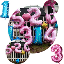 1PC 16 Inch Large Size Digit Number Balloons Blue Pink Available Star Heart Dot Helium Foil Party Decoration(China)