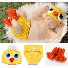 Photo Props Crochet Knit Baby Hat and Diaper Cover & Shoes Costume Duck Photography Props Beanies 5SY41(China)