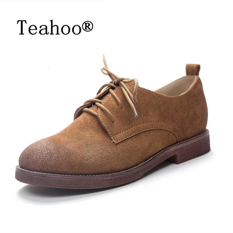 Fashion Women Shoes 2017 Genuine Leather Spring New Casual Oxford Flats Lace Up Breathable Shoes For Women Loafers Zapatos Mujer<br>