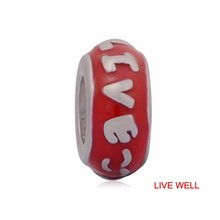 Skyrim 20pcs Stainless Steel Colorful Love Much & Live Well & Happy Forever & Smile Word Beads Fit For Pandora Bracelet Jewelry(China)
