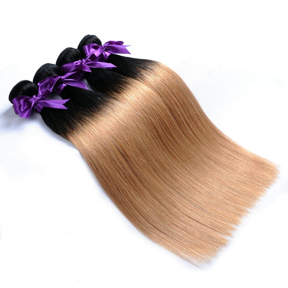 Ombre Brazilian Hair 1B 27 Straight Hair Weave Bundles 2 Two tone honey blond human hair extensions (4)