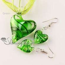 heart swirled pattern Italian lampwork murano glass necklaces pendants and earrings jewelry sets cheap ladies jewellery