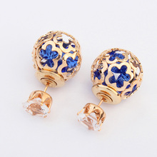 Ahmed Jewelry Fashion Wholesale Trendy Double Sides Pearl Earring Two Ball Stud Earrings For Woman Crystal Earring 020