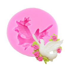 F1212 Hot Selling FDA  Lovely Bird Fondant 3D Molds, Silicone Mold ,Soap, Candle Moulds, Sugar Craft tools, Chocolate Moulds
