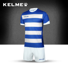 KELME 2017 Survetement Men's Team Soccer Sets Training Short sleeves Stripe Jerseys Shorts Football Uniforms K15Z214-1