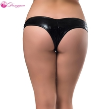 Buy Goorselent plus size sexy latex briefs erotic underwear 5 colors crotchless leather briefs women porn panties sexy lingerie