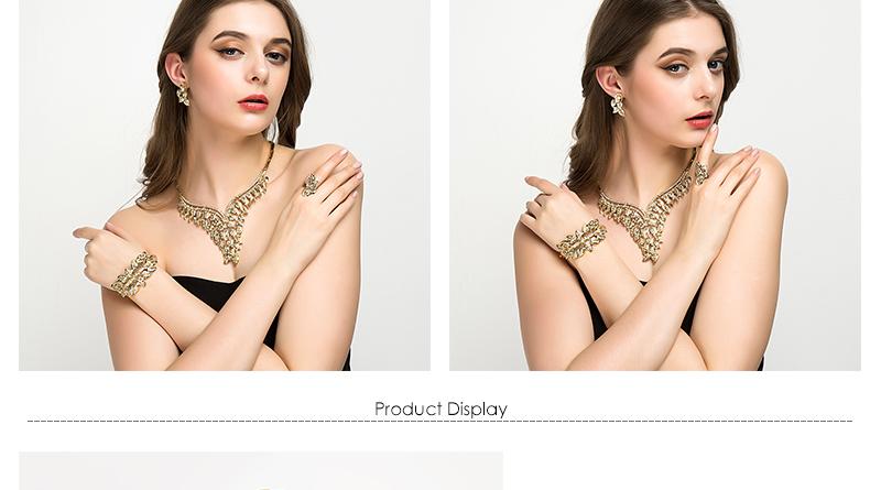 CWEEL Jewelry Sets Luxury Women African Jewelry Set Plant Imitation Crystal Wedding Jewellery For Bride Dubai Jewelry Sets (3)