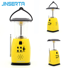 JINSERTA Solar Hand Crank Dynamo Emergency FM AM SW Radio With 8 LED Camping Lantern Flashlight 500mAh Power Bank for Smartphone(China)