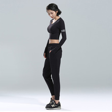 Vertvie Women Sport Yoga Set For Gym Sports Top+Solid Pant Running Suit Elasticity Fitness Clothing Workout Wear Black 2017 New