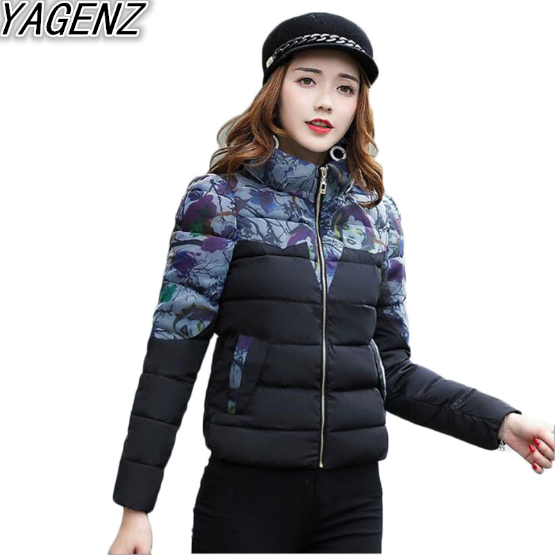 YAGENZ Winter Women Cotton Clothes 2017 Fashion Slim Printed Cotton Coat Womens Short Down Cotton Jacket Female Padded OvercoatÎäåæäà è àêñåññóàðû<br><br>