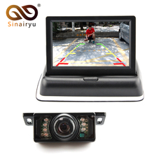 "2CH Video 4.3 "" Foldable TFT LCD Color Rearview Mirror Car Monitor+7LED IR Night Vision Car Rear View Parking Camera,FreeShip(China)"