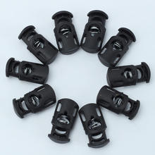 10pcs Black  Plastic Toggle Spring Clasp Stop Single Hole Drawstring Rope Cord Locks Cordlock