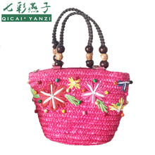 QICAI.YANZI Women Leisure Handbags Summer Lady Bohemia Straw Totes Mujer Colorful Stars Candy Beads Handle Bags Wristlets P636