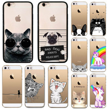 "Cute Cat Dog Animals Phone Case For iPhone SE 5 5S 4.0"" Transparent Clear Soft TPU Silicon Phone Back Cover Hippos Owl Bulldog"