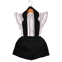 HE Hello Enjoy girls clothing sets 2017 Casual white and black kids clothes girls brand Striped vest T-shirt+Hanging neck suits(China)