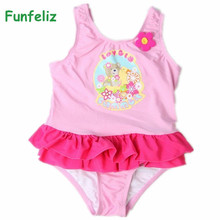 Girls Swimwear Children swim wear lovely cartoon bear kids one pieces swimsuit for girls Double Layed girl bathing suit