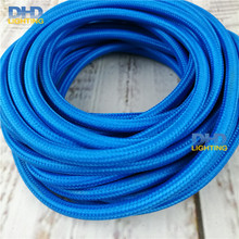 10m/lot blue color cable textil fabric vintage lamp wire DIY pendant light electrical cable woven braided cable power cord