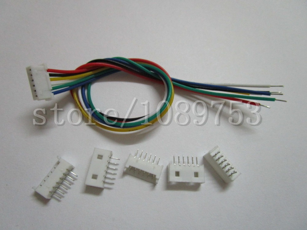 100 pcs 1.25mm Pitch 6 Pin Male + Female Connector with 28AWG 100mm Leads Cable<br><br>Aliexpress