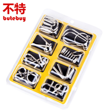 8PCS/lot Different Patterns 3D Interlocking Metal Puzzle IQ Wire Brain Teaser Game for Children Adults Kids PQQ09