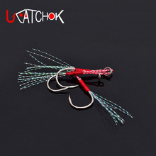 10pcs/pack Mustad 14# jigging hook assist hook boat jig fishing feather roped hook overweight hook fishing accessory tool tackle(China)