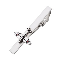 Classical Tie Bar Spitfire War Airplane Design Tie Clip for mens Aircraft Tie Pin Clips(China)