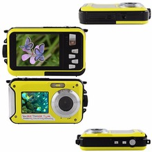 18MP Double Screens Waterproof Digital Camera US/EU/UK Plug Screens HD CMOS 16x Zoom Camcorder Dive Camera Yellow