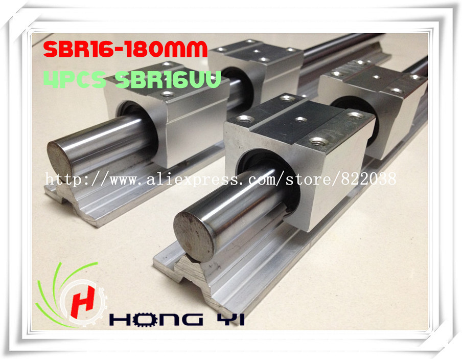 NEW: 2 pcs SBR16 L = 180mm Linear Rails +4 pcs SBR16UU straight-line motion block for SFU1605 Ball screw (can be cut any length)<br>