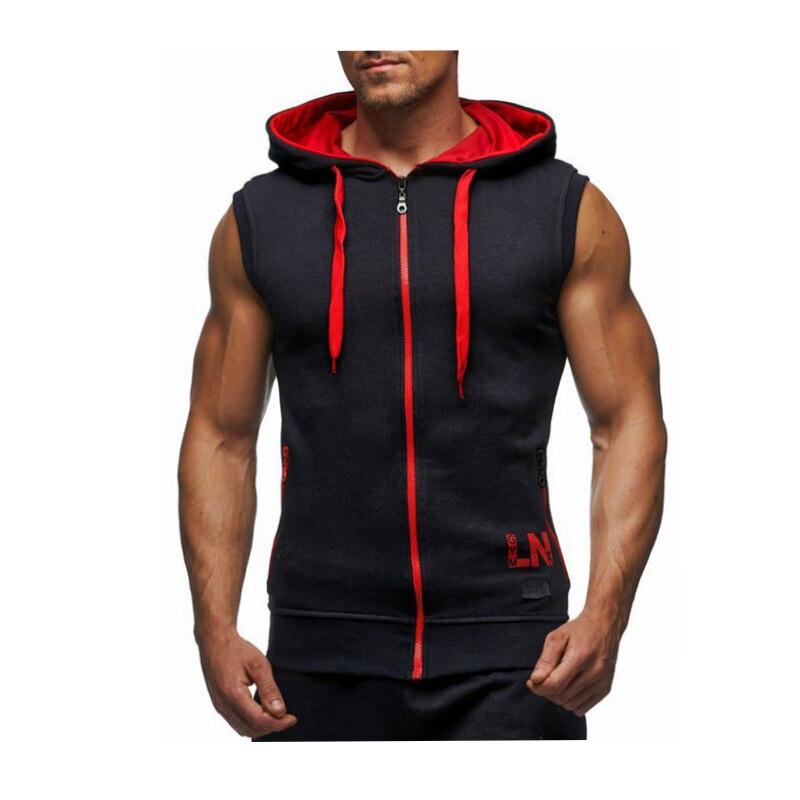 Male Bodybuilding Hoodies Fitness Clothes Hoody Cotton Hoodie Men Sweatshirts Men's Sleeveless Tank Tops Casual Vest 25