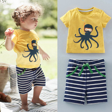 2017 New Arrival Kids clothing set summer toddler Cotton stripe shorts clothes set very cute clothes set wholesaler(China)