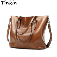 Tinkin Europe Style Shoulder Bag Retro Women Handbag High Capacity Simple Style Totes Daily Shopping Bag