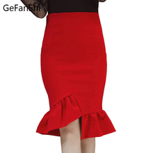 4XL 5XL Red Black Women Skirts Faldas High Waist Ruffles Asymmetrical Hem Womans Female Clothes Knee-length Ladies Trumpet Skirt