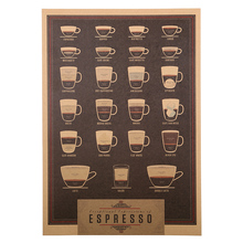 1 Pcs Espresso Nostalgic Restoring Ancient Ways Italy Coffee Kraft Paper Wall Stickers Shop Wall Decoration