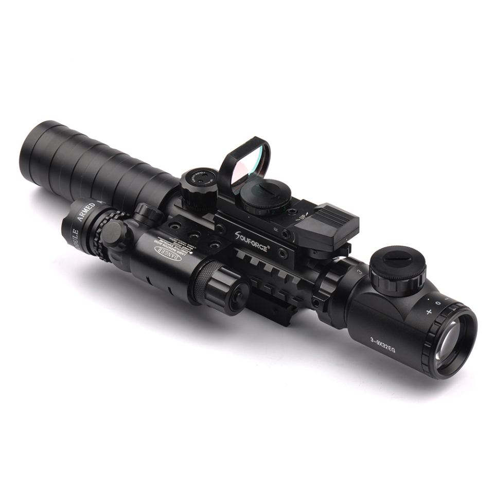 3-9X32EG Riflescope with Long Range Red Dot Laser and Red/Green Dot Holographic Reflex Sight 3 in 1 Combo for Rifle and Airsoft<br>