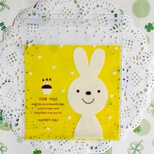 100pcs/lot Yellow Rabbit Cookie Packaging Bag Clear Cellophane Cookies Craft Wedding Birthday Candy Bags 10*10cm