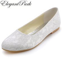 Woman Wedding Bridal Flats White Ivory Closed Toe Comfort Lace lady Bride ballerina Ballets Evening Party Shoes EP11106(China)