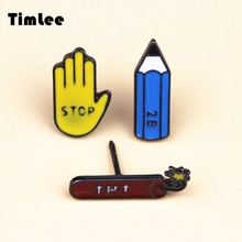 Timlee X088 New Oil Drop Cute Stop Hand TNT Pencil Metal Brooch Pins Button Pins Girl Jeans Bag Decoration Gift Wholesale TLW