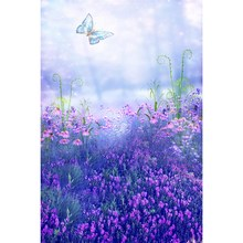 3x5FT fairy tale purple Flower vinyl Photography Backdrop photo Studio Props Photography background cloth 90cm x 150cm(China)