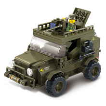 Sluban 0299  kits compatible with  city military Army jeep 3D blocks Educational model  toys hobbies for children