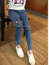 Spring autumn 2017 stereo cat jeans for girls kids ripped jeans fashion jeans for teenagers girl denim jeans 2-13years(China)