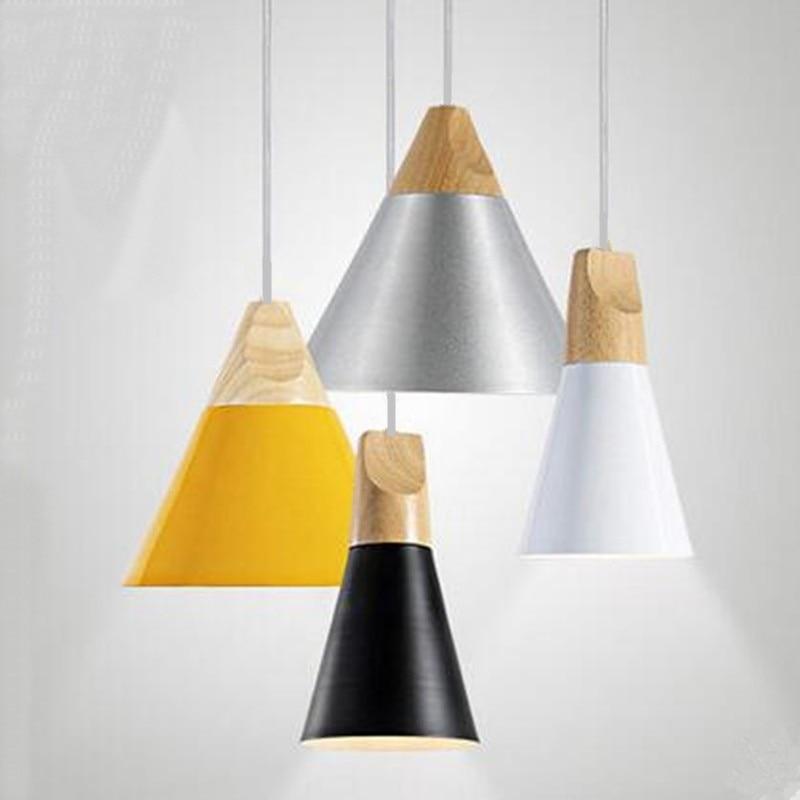 Nordic endant Lights Wood Aluminum Restaurant Bar Coffee Dining Room Single Head Droplight Bedroom Deco Hanging lamp E27<br>