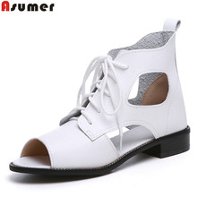 ASUMER size 34-41 new fashion lace up flats women sandals ankle boots cut outs soft pu leather summer boots female shoes woman