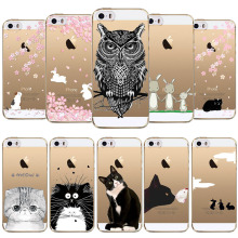 Phone Case For Apple iphone 4 4s 5 5s SE 6 6s 6 plus Cute Owl Rabbit Cat Soft Sillicon Transparent TPU Cellphone Back Cover(China)