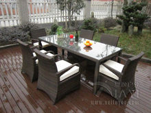 7 pcs Rattan Garden Dining Sets , Washable Resin Wicker Patio Furniture transport by sea(China)