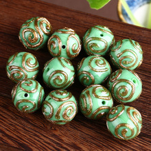 5pcs/lot Lamp Work Gold Sand Glass Beads 14mm Europen Boro Green Round bead for DIY Handmade Bracelets Jewelry Making Materials(China)