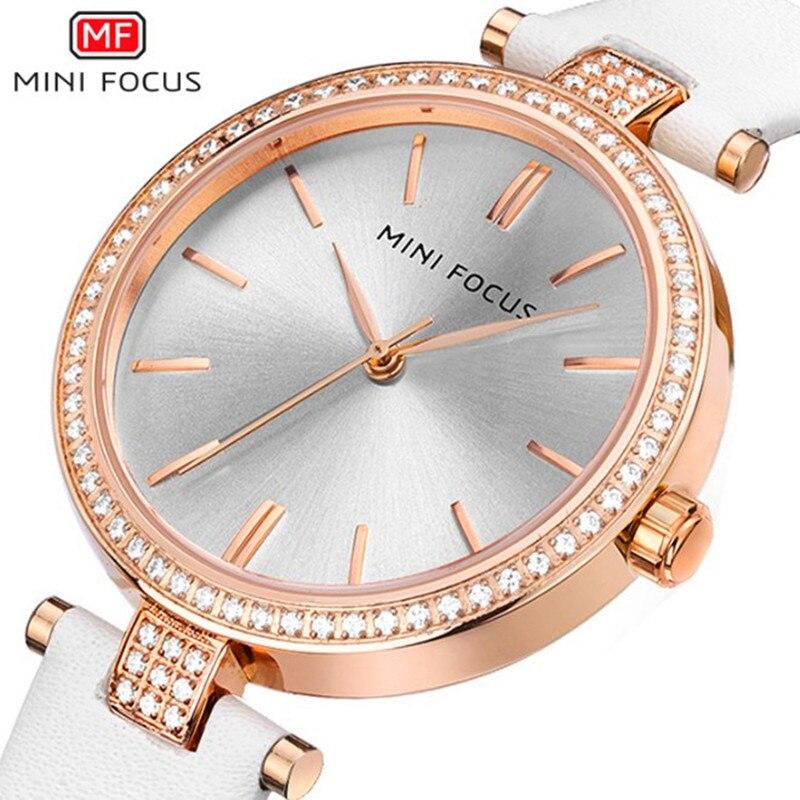 Mini Focus Rose Gold Watch 2018 Female Leather Quartz Wristwatch Lady Rhinestone Waterproof Watches Bracelet Relogio Feminino<br>