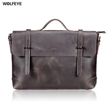 Vintage Crazy Horse Real Genuine Leather Bag Mens Big Designer Handbags High Quality 2016 Tote Bag Men Messenger Bag men leather(China)